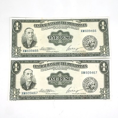 Two Consecutively Numbered Central Bank of The Philippines One Peso Notes, XM609466 - XM609467