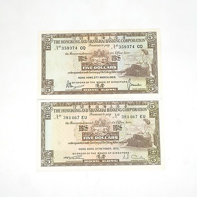 Two Hong Kong and Shanghai Banking Corporation Five Dollar Notes, 359374CQ and 381467EU