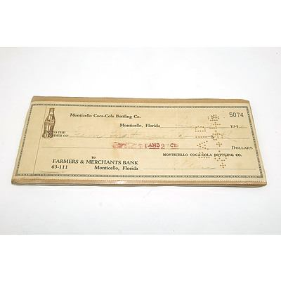 Monticello Coca Cola Bottling Co Cheque