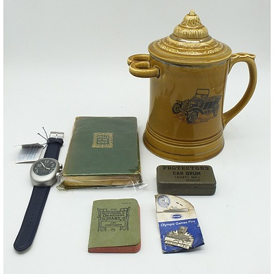 Ford Shaving Mug, Musini Quartz Watch with Leather Strap, Ear Protectors Tin, Bussey Cricketers Diary for 1930, Sydney 2000 Olympic Games Pin and Idylls of the King Book by Tennyson    s
