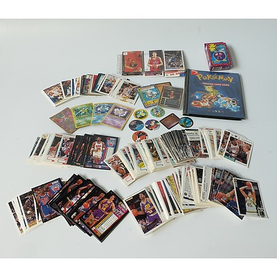 Group of Trading Cards and Collectables Including NBA, Pokémon and Tazos