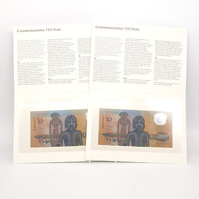 Two 1988 Consecutively Numbered First Prefix Bicentennial Commemorative $10 Notes, AB17053755-AB17053756