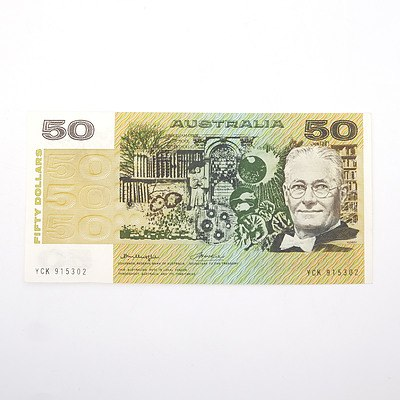Australian Knight/Wheeler $50 Paper Note, YCK915302