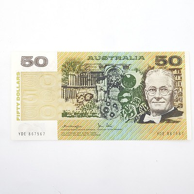 Australian Knight/Stone $50 Paper Note, YDE867567