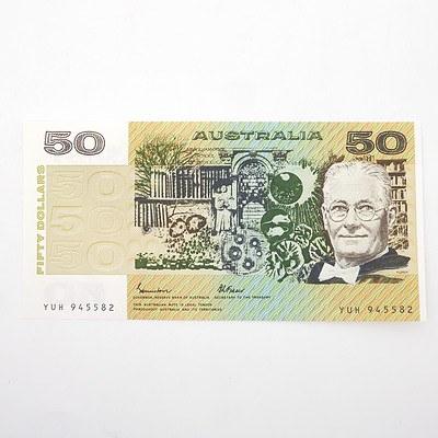 Australian Johnston/Fraser $50 Paper Note, YUH945582