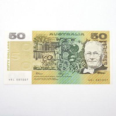 Australian Fraser/Higgins $50 Paper Note, WBL085007