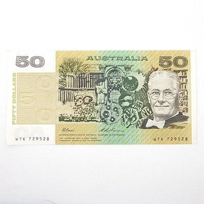 Australian Fraser/Evans $50 Paper Note, WTK729528