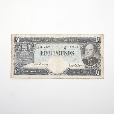Commonwealth of Australia Coombs/Wilson Five Pound Note, TC52 877821