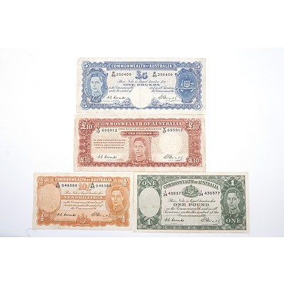 1949 Commonwealth of Australia Coombs/Watts Ten Shillings, One Pound, Five Pounds and Ten Pounds Note