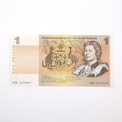Scarce Commonwealth of Australia $1 Star Note, Phillips/Randell ZAK20390*