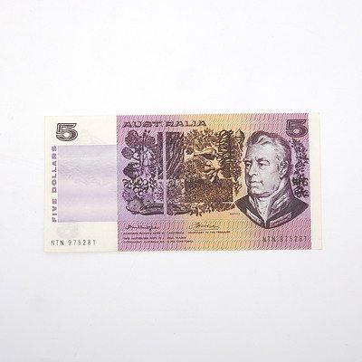 Scarce Australian Knight/Wheeler $5 Error Note,  NTN975281