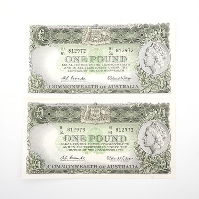Two Commonwealth of Australia Consecutively Numbered Coombs/Wilson One Pound Notes, HJ51 8129672 - HJ51 8129673