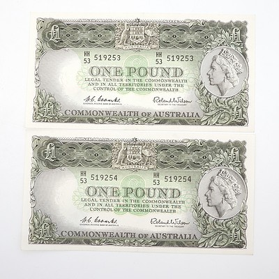 Two Commonwealth of Australia Consecutively Numbered Coombs/Wilson One Pound Notes,HH53 519253- HH53 519254