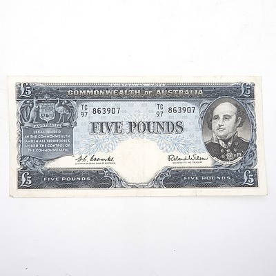 Commonwealth of Australia Coombs/Wilson Five Pound Note, TC97 863907