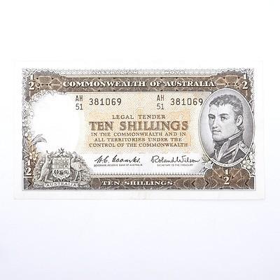 Commonwealth of Australia Coombs/Wilson Ten Shillings Note, AH51 381069