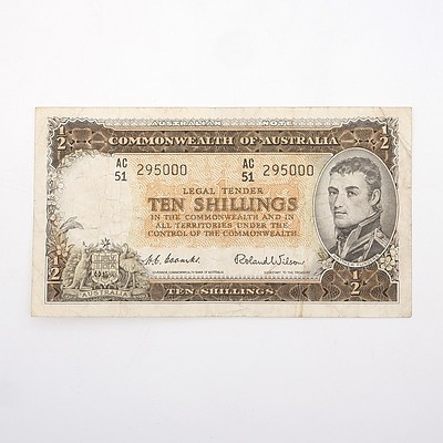 Commonwealth of Australia Coombs/Wilson Ten Shillings Note, AC51 295000
