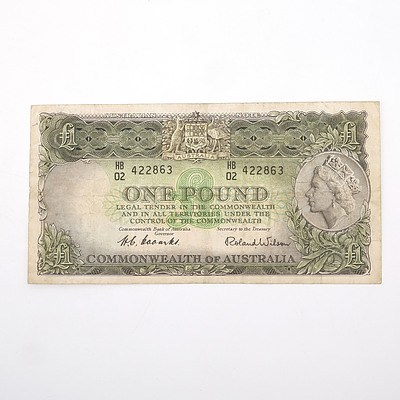 Commonwealth of Australia Coombs/Wilson One Pound Note, HB02 422863