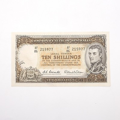 Commonwealth of Australia Coombs/Wilson Ten Shillings Note, AF86 215977