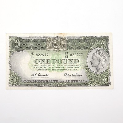 Commonwealth of Australia Coombs/Wilson One Pound Note, HK61 822977