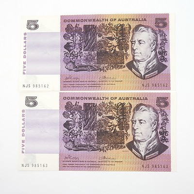 Two Australian Consecutively Numbered Phillips/ Wheeler $5 Paper Notes, NJS985162 - NJS985163