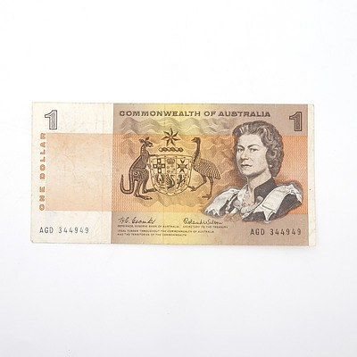 Commonwealth of Australia Coombs/ Wilson $1 Paper Note, AGD344949