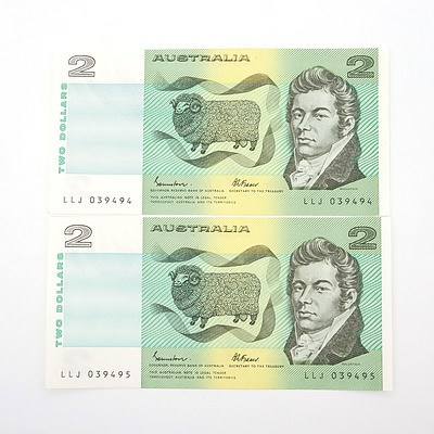 Two Australian Consecutively Numbered Johnston/ Fraser $2 Paper Notes, LLJ039494-LLJ039495