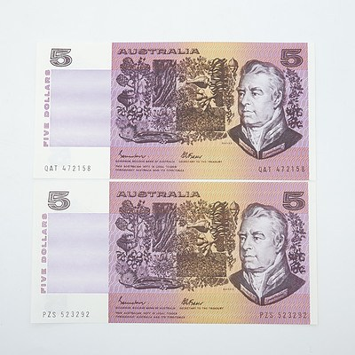 Two Australian Johnston/Fraser $5 Paper Notes, PZS523292 and QAT472158