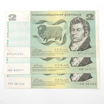 Three Australian Phillips/ Randall $2 Paper Notes, FTE881543, GGK823577, GFT471534