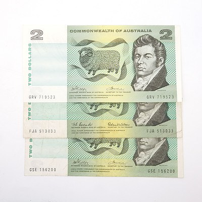 Three Australian $2 Paper Notes, Including Coombs/ Wilson FJA513033, Phillips/Wheeler GSE156200 and More