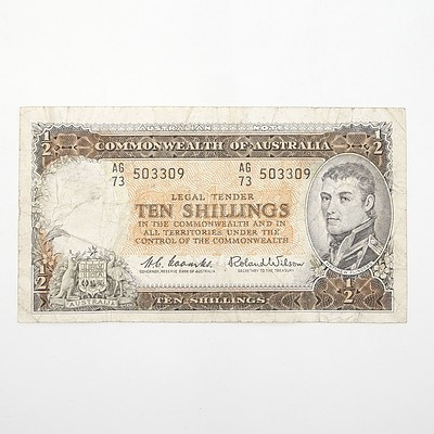 Commonwealth of Australia Coombs/Wilson Ten Shillings Note, AG73 503309