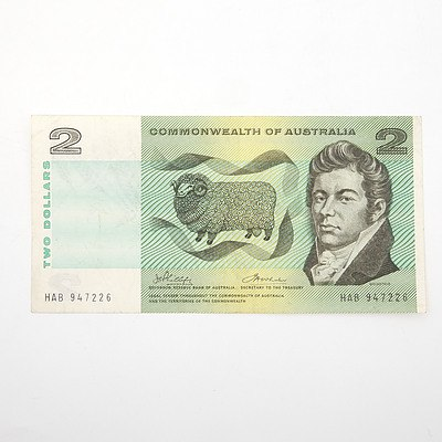 Commonwealth of Australia Phillips/Wheeler $2 Paper Note, HAB947226