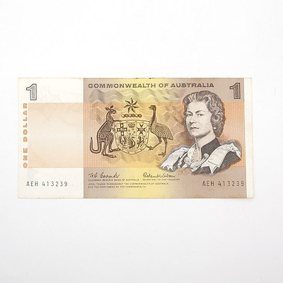 Commonwealth of Australia Coombs/ Wilson $1 Paper Note, AEH413239