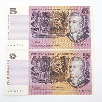 Two Commonwealth of Australia Phillips/ Wheeler $5 Paper Notes, NFB963246 and NDL910666