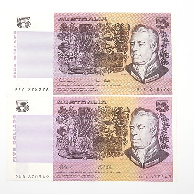 Two Australian $5 Paper Notes, Fraser/Cole QND670549 and Johnston/Stone PFC278276