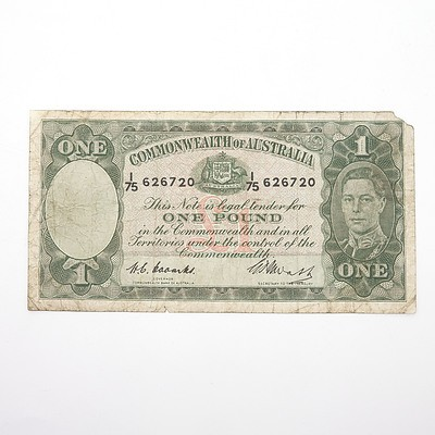 Commonwealth of Australia Coombs/Watts One Pound Note, I75 626720