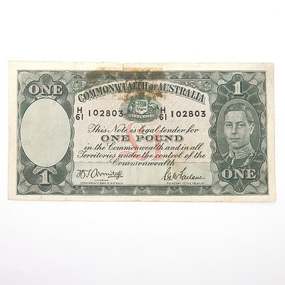 Commonwealth of Australia Armitage/McFarlane One Pound Note, H61 102803
