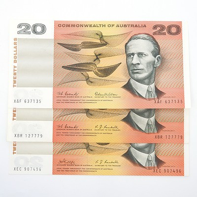 Three Commonwealth of Australia $20 Paper Notes, Including Coombs/Wilson XAF637135, Coombs/Randall XBR127779 and Phillips/Randall XEC907496