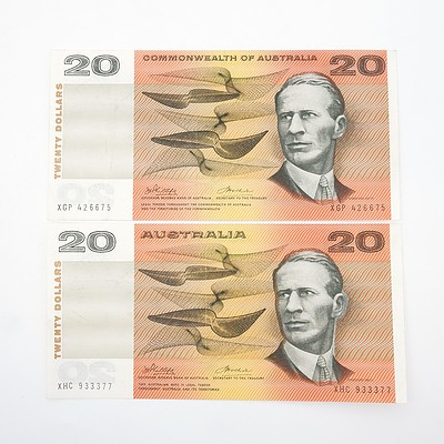 Two Commonwealth of Australia Phillips/Wheeler $20 Paper Notes, XGP426675 and XHC933377