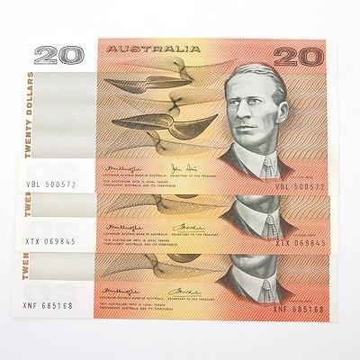 Three Australian $20 Paper Notes, Including Knight/Wheeler XNF685168, Knight/ Wheeler XTX069845 and VBL500572