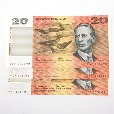 Three Australian $20 Paper Notes, Including Knight/ Stone VGP515104, Johnston/Stone VLR308768 and Johnston/ Fraser EDF732692
