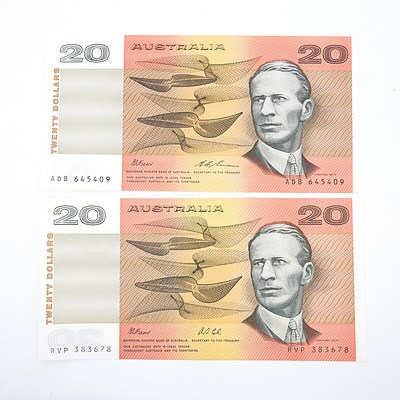 Two Australian $20 Paper Notes, Including Fraser/Cole RVP383678 and Fraser/Evans ADB645409