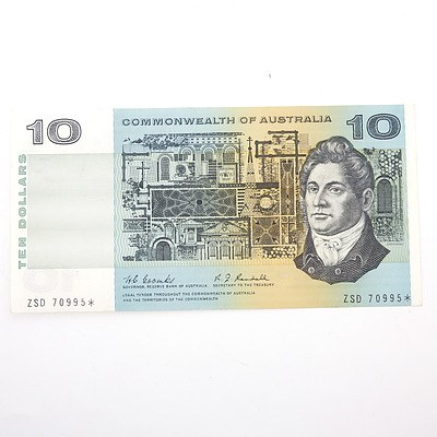 Scarce Commonwealth of Australia $10 Star Note, Coombs/Randall ZSD70995*