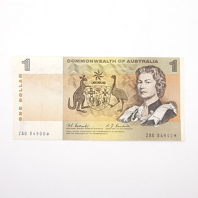 Scarce Commonwealth of Australia $1 Star Note, Coombs/Randall ZAG8490*