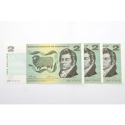 Three Consecutively Numbered $2 Phillips/ Wheeler Paper Notes, GRV719524-GRV719526