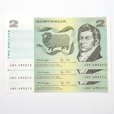 Three Consecutively Numbered Knight/ Stone $2 Paper Notes, JHF495213-JHF495215