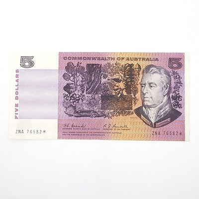 Scarce Commonwealth of Australia $5 Star Note, Coombs/Randall ZNA76582*