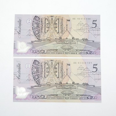 Two 1992 Cole/ Fraser $5 Polymer Notes with Dark Green Serial Numbers, AA16412740 and AA03006121