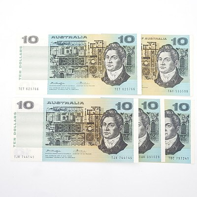 Five Australian $10 Paper Notes, Including Phillips/ Wheeler TAY533598, Knight/Wheeler TET625766 and More