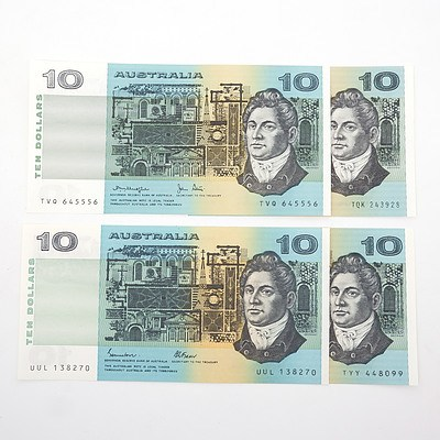 Four Australian $10 Paper Notes, Including Knight/Stone TQK243928, Johnston/ Stone TYY448099 and More