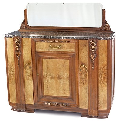 Superb French Art Deco Walnut and Burr Walnut Sideboard Circa 1925